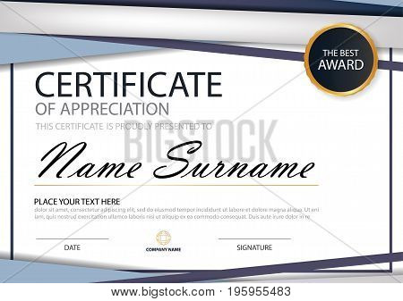 Blue triangle Elegance horizontal certificate with Vector illustration white frame certificate template with clean and modern pattern presentation