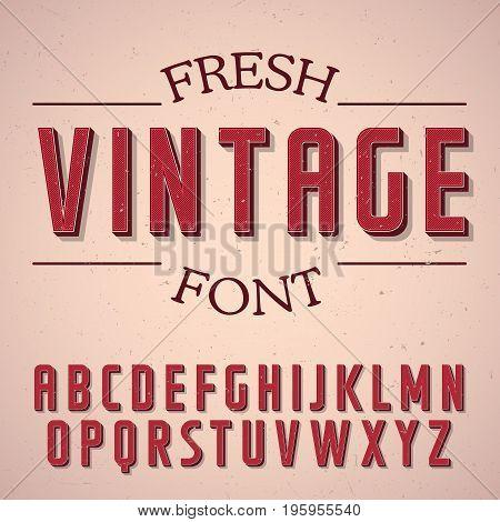 Fresh Vintage Font Poster with alphabet on rose background vector illustration