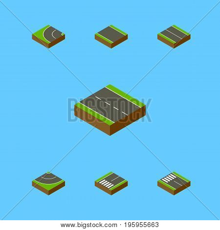 Isometric Way Set Of Single-Lane, Way, Footpassenger And Other Vector Objects