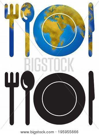 Dish fork spoon and knife with planet earth map digital illustration icon.