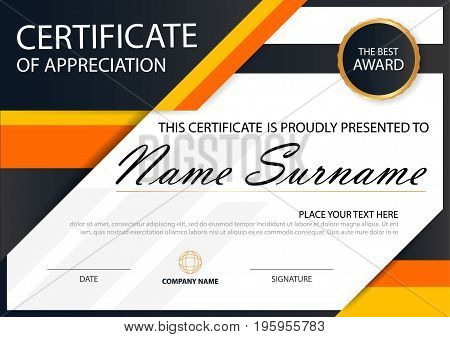 Orange Elegance horizontal certificate with Vector illustration white frame certificate template with clean and modern pattern presentation