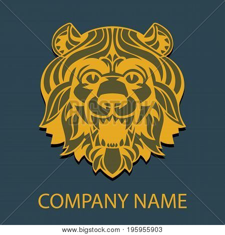 logo template head of a lion with a magnificent mane stylized antique suitable for tattoos mascots logos