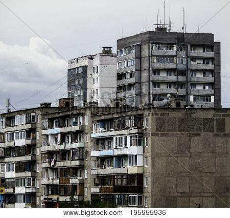 Apartment buildings, social housing, apartment block, high-rise building, old, residential area, cityscape