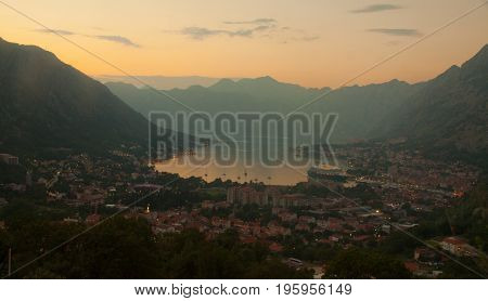Montenegro. Bay of Kotor Gulf of Kotor, Boka Kotorska and walled old city - general view from St. John's Fortress. Fortifications of Kotor is on UNESCO World Heritage List since 1979