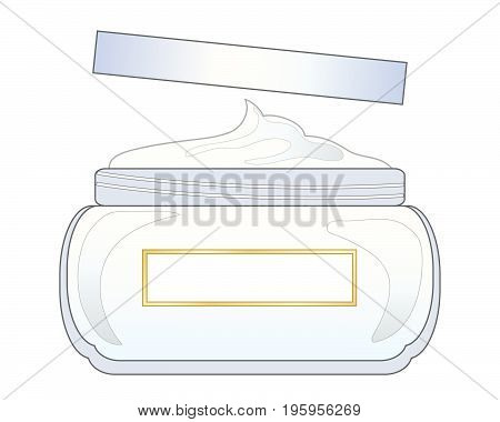 an illustration of a jar of moisturising cream with a lid on a white background