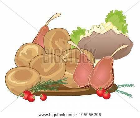 an illustration of a traditional sunday roast meal with yorkshire puddings rack of lamb and a baked potato on a white background