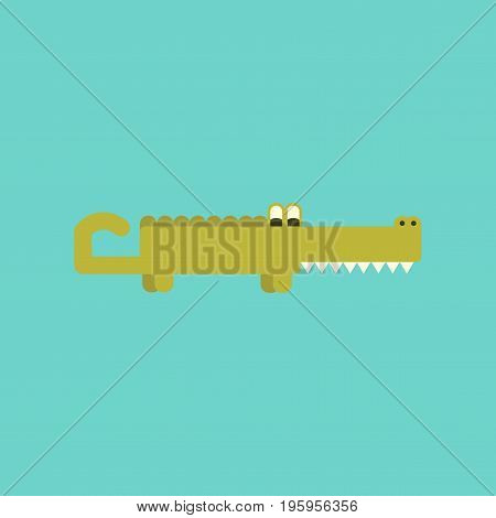 flat icon on stylish background cartoon crocodile