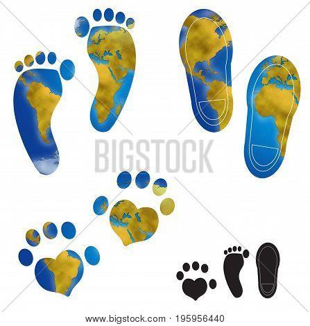 World planisphere in different footprints of man and animal digital illustration