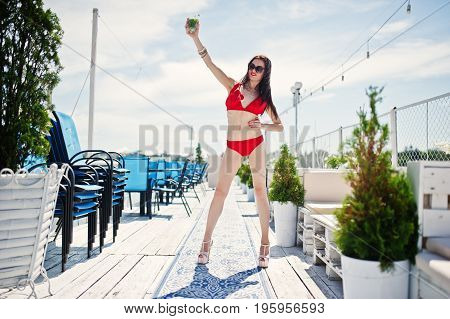 Awesome Young Woman In Red Bikini Posing With A Mojito Cocktail In Her Hand On The Quay By The Lake.
