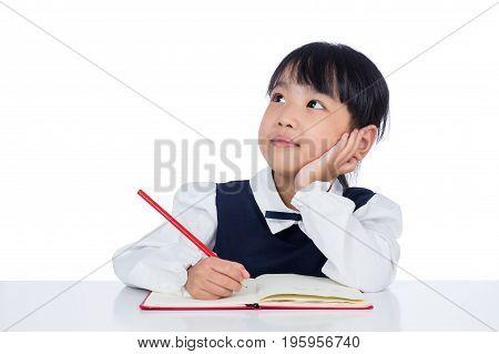 Asian Little Chinese Girl Writing Homework