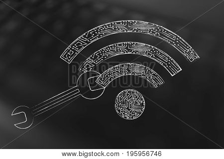 Wrench On Wi-fi Symbol Made Of Microchip Circuits