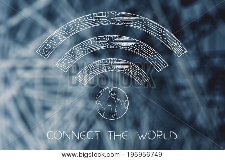 Microchip Wi-fi Symbol With Planet Earth
