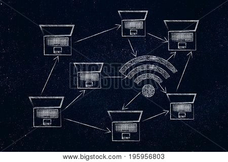 Laptops And Wi-fi Symbol Made Of Microchip Circuits In A Network