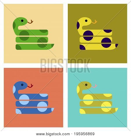 assembly of flat icons reptile snake animal
