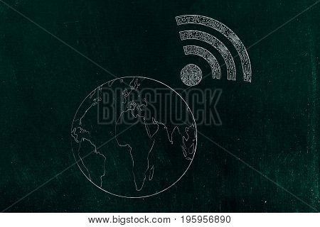 Planet Earth With Wi-fi Symbol On It