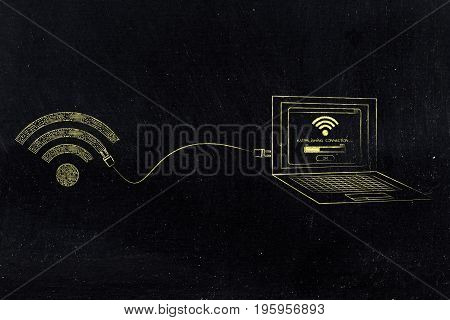 Wi-fi Symbol Made Of Microchip Circuits Connected To A Laptop With A Plug
