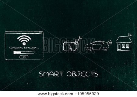 Pop-up With Wi-fi Symbol And Group Of Smart Connected Objects