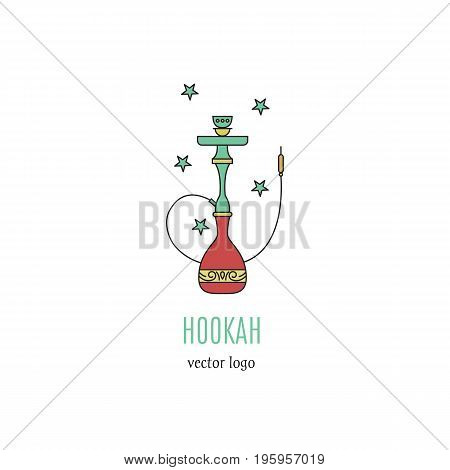 Hookah vector logo design in trendy linear style. Hookah vector icon isolated on white background. Hookah vector label. Smoking hookah perfect for lounge cafe emblem, arabian bar or house, shop.