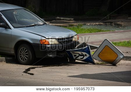a drunk driver ran the stop sign at the crosswalk. The accident in the city on the road