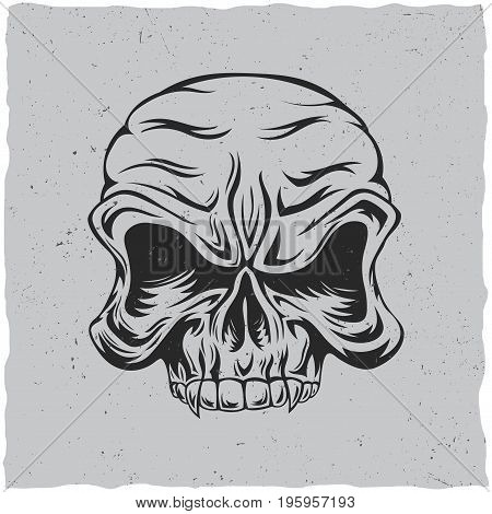 Angry skull poster with white and grey colors vector illustration