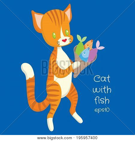 red cat carry fish in the package - vector eps10