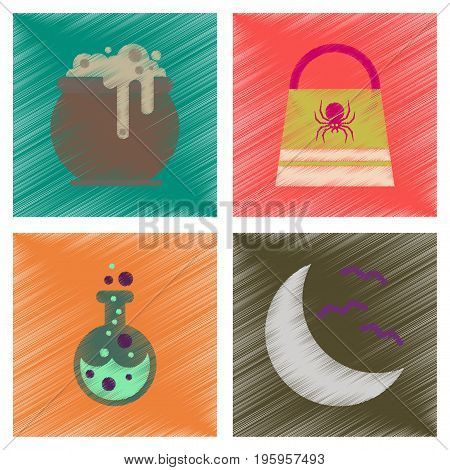 assembly flat shading style icons of halloween bag potion bottle moon bats cauldron