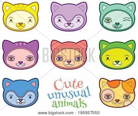 Cute colorful animals heads vector set - stylized cartoon vector illustration