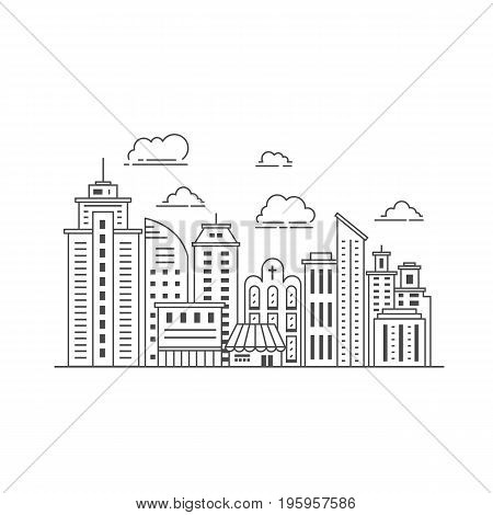 Black and white illustration with skyscrapers, different office building, church and clouds made in vector. Skyscraper collection. Flyer or banner template with modern line style town graphic.