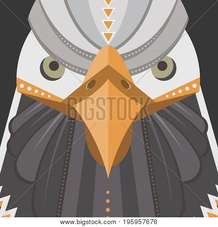 Vector poster of a bald eagle  made in trendy flat style. USA bird symbol.  Perfect for travel magazine or t-shirt design with cute bird character.