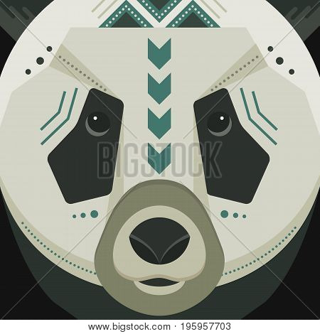 Vector poster with panda face made in trendy flat style. China animal symbol. Perfect for travel magazine or t-shirt design with cute animal character.