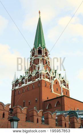 Moscow Russian Federation - February 05 2016: Troitskaya tower of Kremlin view from Aleksandrovskiy garden