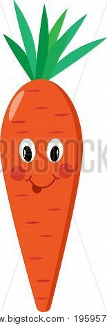Carrot cartoon isolated vector yummy, ripe, caricature, kids
