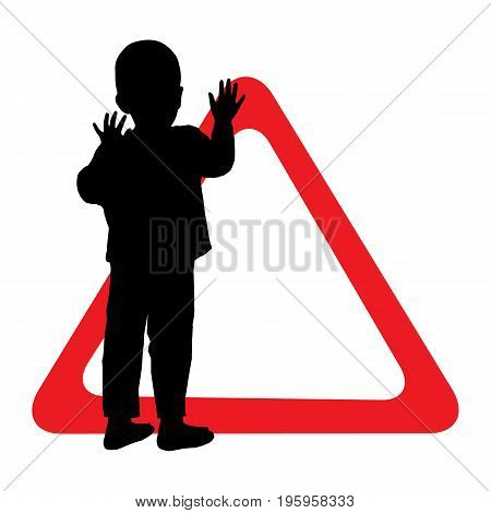 Child Safety Sign Giving Way. Silhouette