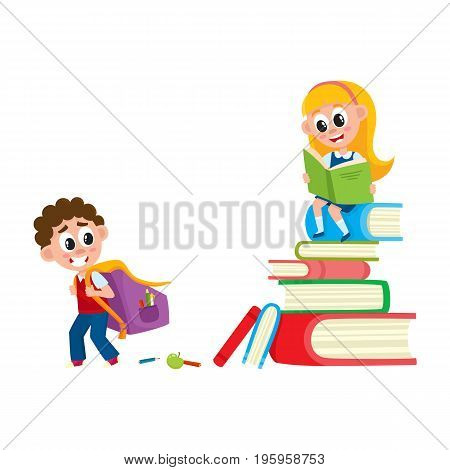 Boy going to school with backpack, girl sitting on huge pile, stack of books, cartoon vector illustration isolated on white background. Boy going to school with backpack, girl reading on book pile