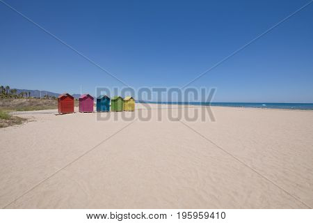 Beach In Grao Of Castellon With Wooden Bathing Huts