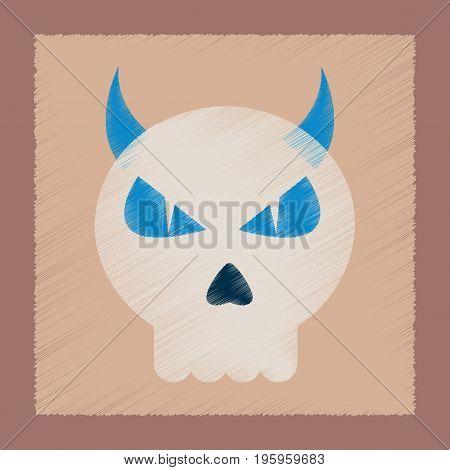 flat shading style icon of halloween emotion skull