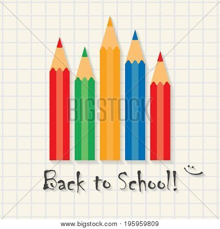 Back to school! - funny inscription template on math type background