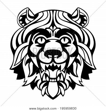 head of a lion with a magnificent mane stylized antique suitable for tattoos mascots logos