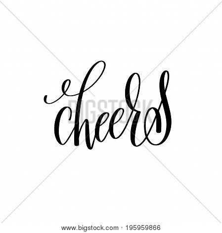 cheers black ink hand lettering calligraphy text to photography overly photo album design isolated on white background, vector illustration