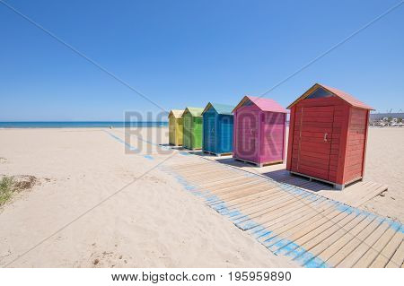 Colored Bathing Cabins At Beach In Grao Of Castellon