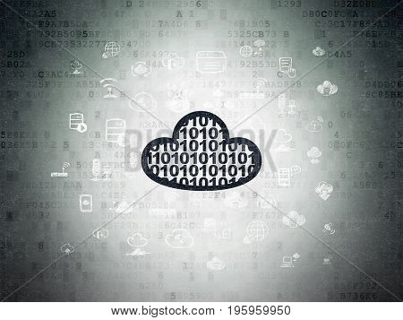Cloud computing concept: Painted black Cloud With Code icon on Digital Data Paper background with  Hand Drawn Cloud Technology Icons
