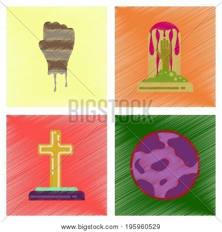 assembly flat shading style icons of halloween zombie hand grave full moon