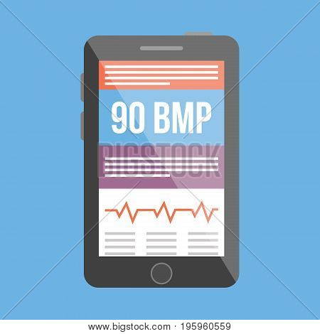 BPM medical tracker icon vector illustration in flat style poster