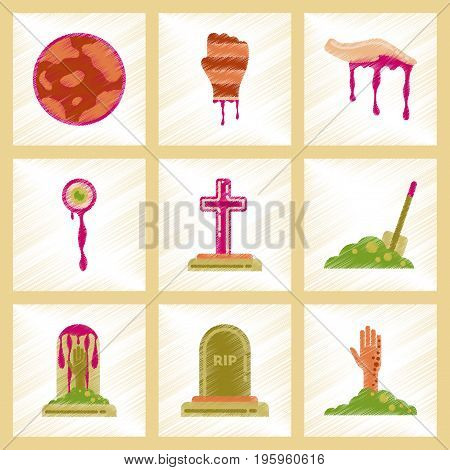assembly flat shading style icons of halloween zombie full moon hand grave Plot shovel