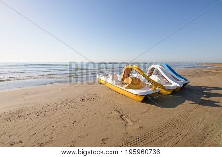 Pedal Boats On The Beach Of Benicassim