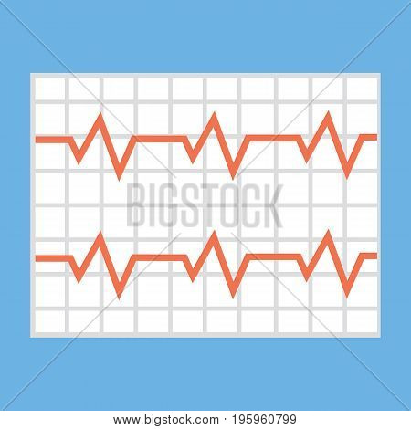 Illustration of a heart cardiogram wave on a piece of paper. icon vector illustration in flat style