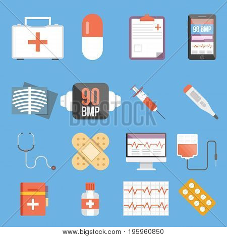 Set of medical flat design vector icons