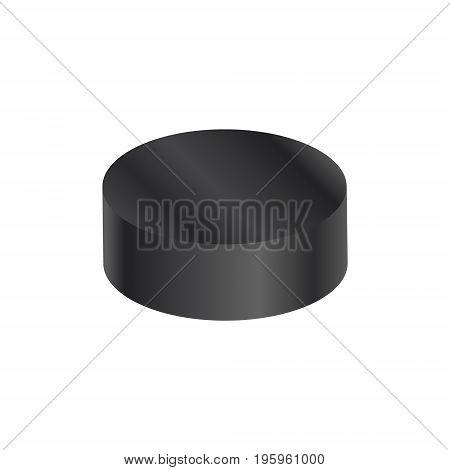 Hockey pack isolated on white. Vector illustration. Hockey black pack logo.