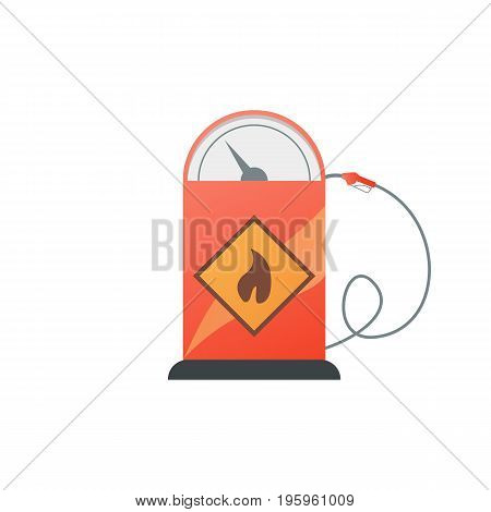 Gas station pump with fuel nozzle icon vector illustration in flat style