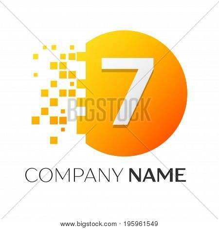Realistic number seven vector logo symbol in the colorful circle with shattered blocks on white background. Pixel Motion. Vector template for your design